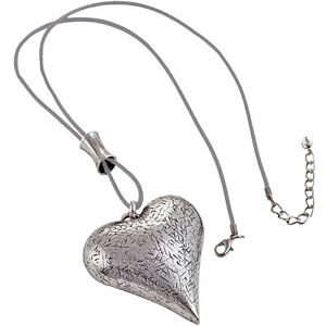 Chunky textured burnished silver large heart pendant grey leather long necklace