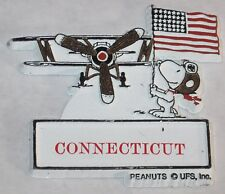 "Snoopy Flying Ace & Stars & Stripes ""Connecticut"" Souvenir Magnet - Rubber"