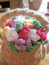 HAND KNITTED XMAS BASKET TEA COSY. OODLES OF LOVELY FLOWERS.