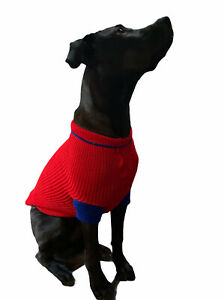 Vintage Knitted Dog Sweater Red with Blue Trim