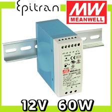 Alimentatore stabilizzato regolabile DC da barra DIN 12V 60W 5A Mean Well