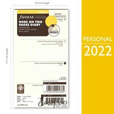 Filofax 2022 Personal Size Week On Two Cream 5 Languages Diary Refill 68413