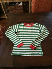 Hanna Andersson Green Striped Xmas Pajama Top Size 160