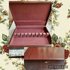 Vntg Mahoghany Color Wood Silverware Cutlery Flatware Storage Chest Knife Slots