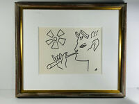 VTG Original Jean Cocteau Attributed Pan Playing Flute Drawing in frame devil