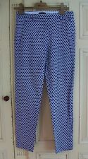 "H & M EUR 36 UK 10 BLUE BLACK WHITE TAPERED FITTED TROUSERS 27"" CAPI CROPPED VGC"