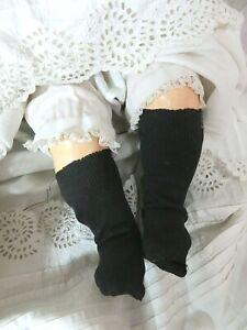 "ANTIQUE baby DOLL SOCKS cotton KNIT black ORIGINAL 1800's Fat legs 5.5"" x 1 3/4"""