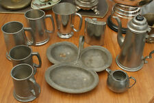 More details for job lot of mixed pewter ( tankards - jug - trio dish - coffee pot - hip flask )