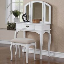3 PC Vanity Set Make Up Table with Drawers, Bench and Mirror in White