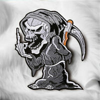 DIY Grim Reaper Devil Skull Embroidered Sew On Iron On Patch Badge Fabric Craft