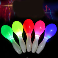 2X Flashing Multi Colour LED Maracas Light Up Neon Sensory Shaking Toy Festival