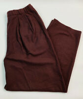 New Eileen Fisher Women's Large Brown Wool Crepe Pants Pleated Elastic Waist