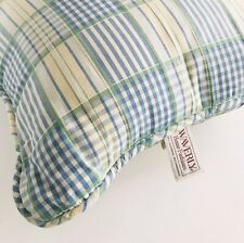 "Vintage WAVERLY Valley Lake 16"" Throw Accent PILLOW Yellow Blue Green Plaid"