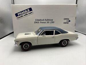 1/24 Danbury Mint 1969 Chevrolet Nova SS Limited White Green RARE