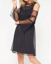 NEW Miss Selfridge Embroidered Dress Mesh Black Womens Girls Size 14 RRP £42