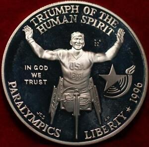 Uncirculated Proof 1996 Philadelphia Mint Paralympics Silver Dollar