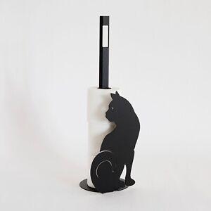 Arti e Mestieri Porta Cartaigienica Gatto Nero Metallo