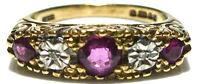 ENGLISH 375 9K GOLD RUBY & DIAMOND TWO TONE DESIGNER VINTAGE RING BAND SIZE 5.75