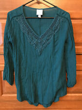 Knox Rose Women Top M Long Sleeve Green B398