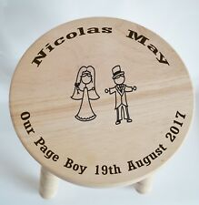 Customised Wooden Milking Stool for Page Boy - wedding... free engraving