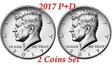 2017 Kennedy Half Dollars 2 coins set P + D Clad President 50¢ coin US Mint