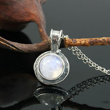 Dainty 925 Sterling Silver Moonstone Necklace Round Pendant Artisan Jewelry Y924