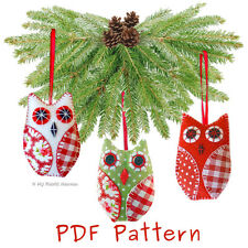 Tessuto Gufo Albero di Natale Decorazione PDF Sewing Pattern & esercitazione