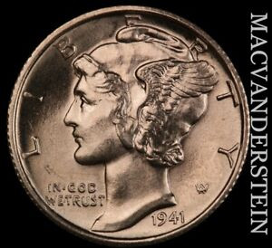 1941-S Mercury Dime - Choice Gem Brilliant Uncirculated+++++  #X8448