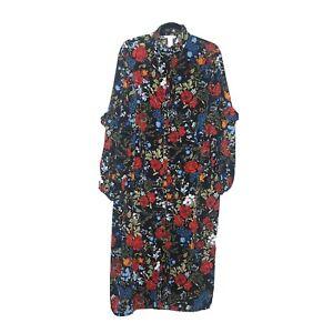 H&M Midi Dress Plus Size 18 Dark Floral High Neck Ruffles Button Front Modest
