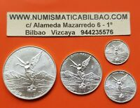 @RARE@ MEXICO 1/2 1/4 1/10 1/20 ONZA 1998 LIBERTAD UNC SILVER 4 COINS Oz Mejico