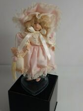 Dollhouse Miniature Dressed Porcelain Victorian Girl With  Reticule & Stand