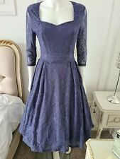 Lindy Bop Lisette Lavender Swing Dress 1950s Style Size 10 New with Tags Bnwt