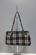 VERA BARDLEY Black White Red Plaid Zip Outside Pocket Satchel Handbag Sz S B4209