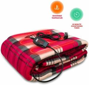 Zento Deals 12V Electric Blanket -Red Plaid Blanket Home/Camping Comfy Protector