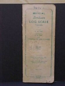 """Vtg 1940s Official Scribner's Log Scale Book 6"""" to 100"""" - 4' to 100'"""