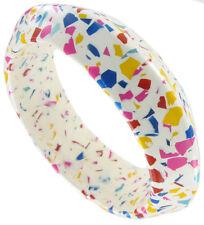 Bangle Bracelet Vintage Mosaic Lucite Pink Blue White