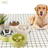 Anti Choking Feeder Double Bowl Stainless Steel Pet Stand Food Water Dog V4B7