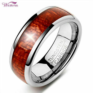 Wuziwen Tungsten Rings For Men Wedding Bands For Him Wood Inlay Carbide 8mm 9-13