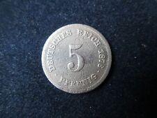 5 Pfennig 1876 A Deutsches Reich (Kaiserreich). Starke Abnutzung.