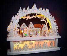3d LED ARCOS DE LUCES arbotantes con casas + subbanco 3 figuras 43x40 cm 10048