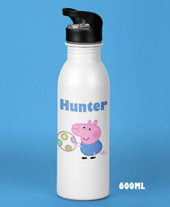 Kids Boys Personalised Peppa Pig Water Drink Bottle  Birthday Christmas Present