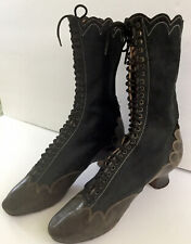 Pair Of Authentic Early Victorian Ladies Silk Lace Up Boots Shoes