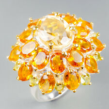 Glowing Natural Citrine 925 Sterling Silver Ring Size 7.75/R122391