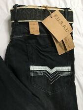 FUSAI Jeans Mens 32x32 Black Comfort Slim Straight Leg Distressed Belted NWT