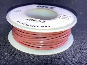 """NTE WT20-01-25  20 awg 19 Strand Type """"E"""" Teflon Brown 200°C@600V 25 ft. spool"""