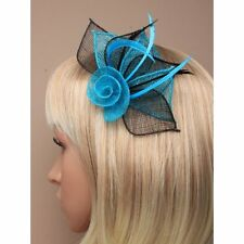 Turquoise Blue and Black Fascinator 2 Tone Hessian Netted Rose Clip Brooch Pin