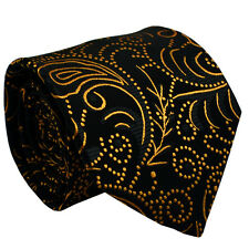 Silk Black Men Tie With Orange Floral Jacquard Woven Silk Formal Men Necktie
