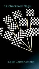 12 Cupcake Checkered Flags Cars Theme Pick Race Racing Car Party Black White