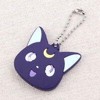 Silicone Cat Luna Charm Key Cover Case Cap Key Ring Bags Keychain Strap Gift