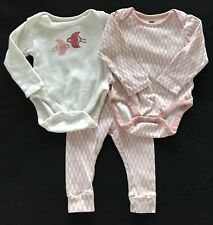 TEA COLLECTION Baby Girl 3 Piece Set Lot Bodysuit Tops Leggings Size 3-6 Months